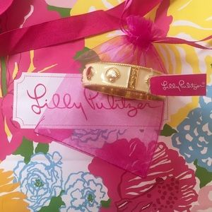 Lilly Pulitzer Gold Enamel Shell Bangle Bracelet